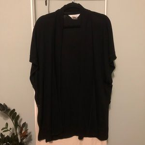 Misook Black Rib Knit Relaxed Cardigan Sweater
